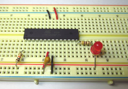 Circuit wired up on a breadboard